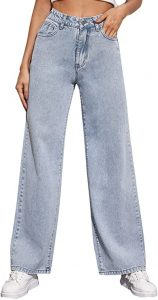 SOLY HUX Women's Casual Denim Pants High Waisted Wide Leg Jeans