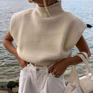 Luckinbaby Casual Women's Knit Sweater Vest Turtleneck Sleeveless Knitted Tank Tops Shoulder Pads Fall Winter Knitwear Shirts
